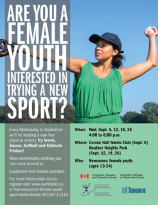 FREE Newcomer Female Youth Sport Series Sept. 5th